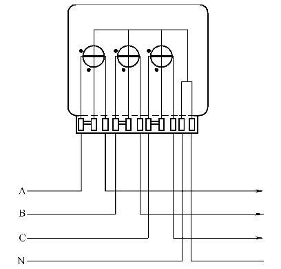 三元件三相四线有功电能表计量的电能为   公式    2,接线要求