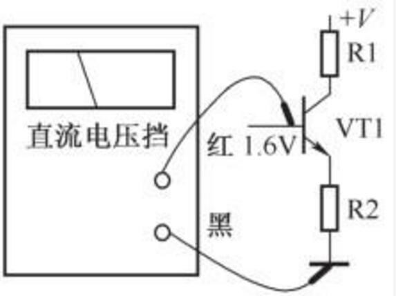 图为指针式和数字式万用表指示示意图,显示三极管基极直流电压为1.