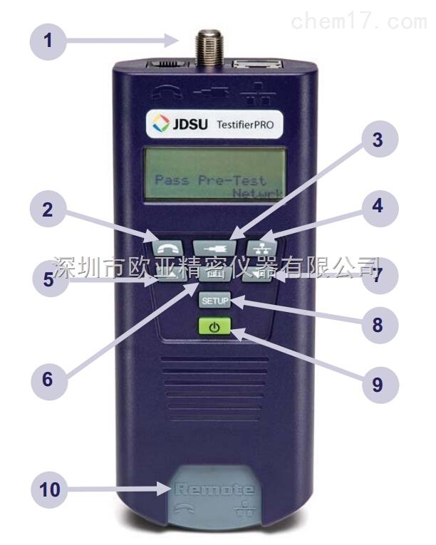 产品简介 美国JDSU TP350网线测试仪可以测试市场上的绝大多数电缆类型,并产生精确和直观的测试结果。它的大屏幕液晶显示屏幕可以清楚地显示网线、同轴电缆、电话线、保安/报警线和没有端接电缆的连通性和可能的一切故障。 产品描述: TP650网线测试仪实现了在一块仪表中同时提供电缆测试、长度测量及集线器闪烁等多种功能。易于使用的TestifierPRO 电缆测试仪提供一键式操作,通过一个按钮可以进行电话线、网线及同轴电缆的诊断测试并显示结果。  1.