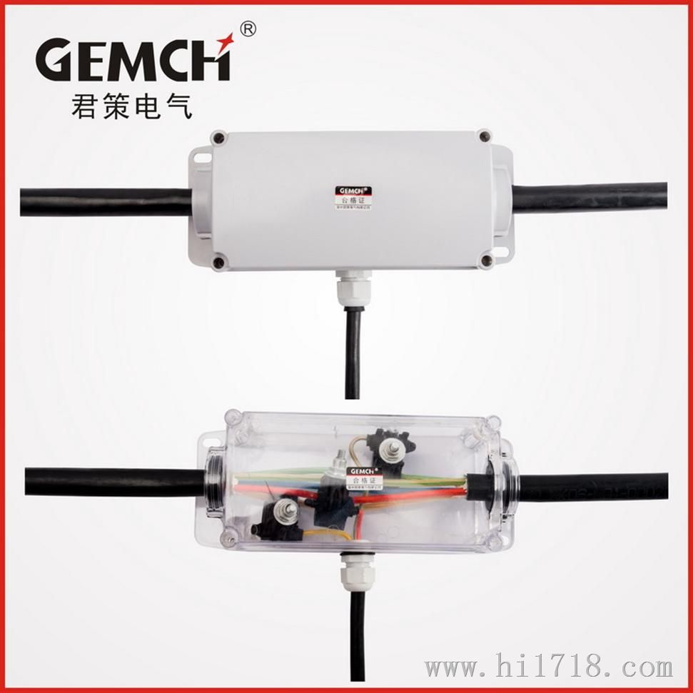 GH-SD-T防水接线盒 隧道专用分支型防水接线盒,是我司针对隧道电缆安装以及对电缆接头的防水要求,特别研制开发的一种 防水盒。防水接线盒考虑到隧道施工环境以及电缆安装位置的复杂性,特别对防水接线盒的安装以及电缆接线做 了优化设计,使盒子的安装更简单、更利于操作。本型号产品适用于主线小于30毫米,支线小于25毫米的电缆分 支接线使用。 产品特性 1.