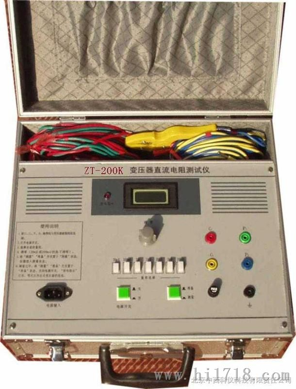 变压器直流电阻测试仪 型号:CN61M/ZT-200K库号:M279331 测量速度比电桥快100倍,带有先进的自稳系统和自动消弧保护电路,抗干扰能力强,适合于感性试品直流电阻,尤其是变压器直流电阻的现场测量,铝合金外壳包装,随机配带专用的测试夹具。 测量精度:(0.1%+1个字) 分辨率:1 测试电流:0.