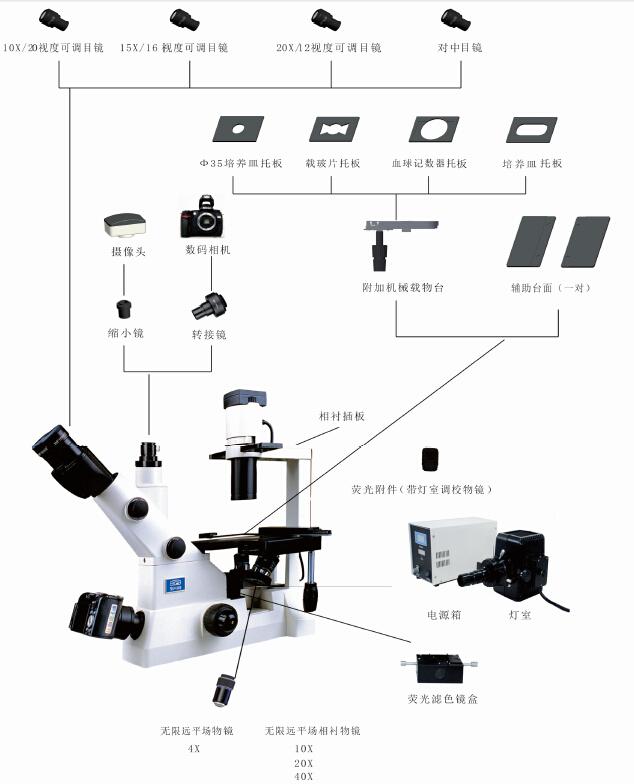 倒置生物显微镜细胞组织培养用结构