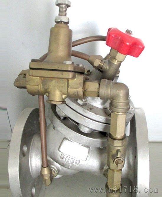 由于导阀的排水量大于针阀的进水量,主阀控制室压力下降,进口压力使图片