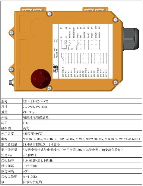 禹鼎18组开关远程控制工业遥控器f21-18s