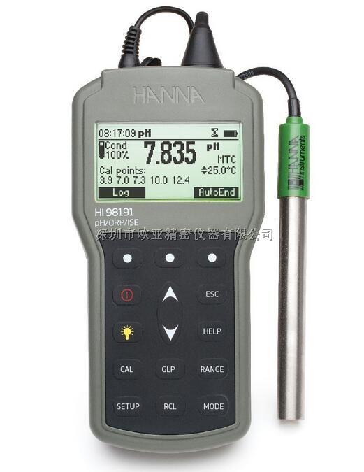 哈纳HI98191 微电脑酸度pH-氧化还原ORP-离子浓度ISE-温度°C测定仪