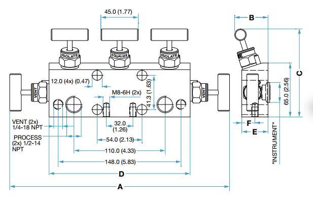 与各种差压,流量,液位等变送器配套安装,工作时将两组校验阀与平衡阀图片