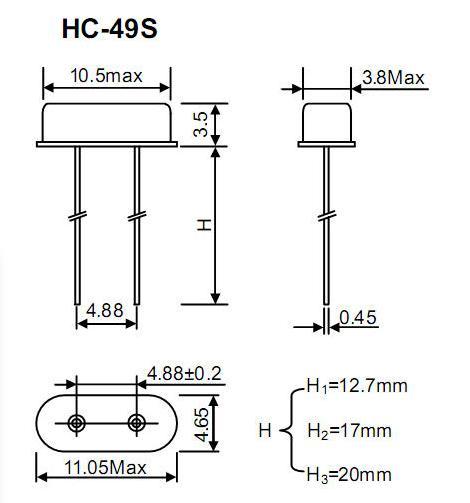 12m直插晶振封装,hc-49s